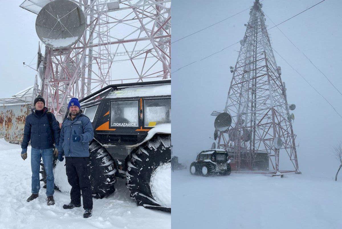 Kyivstar telecommunications tower inspection.